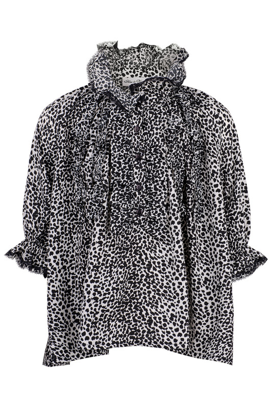 ������ HOW TO KISS A FROG MIMOSA BLOUSE SNOW LEO BLK WHT