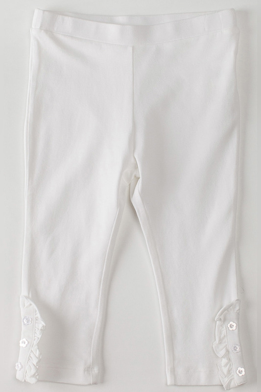 ������ KLEVER KIDS WHITE RUFFLE CAPRI LEGGINGS