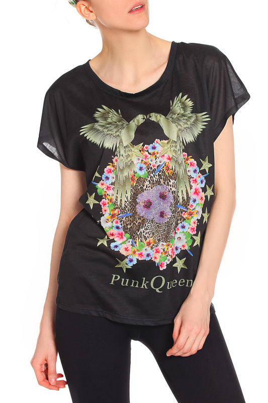 Футболка PunkQueen T-SHIRT_PAPAGAIO-BLACK