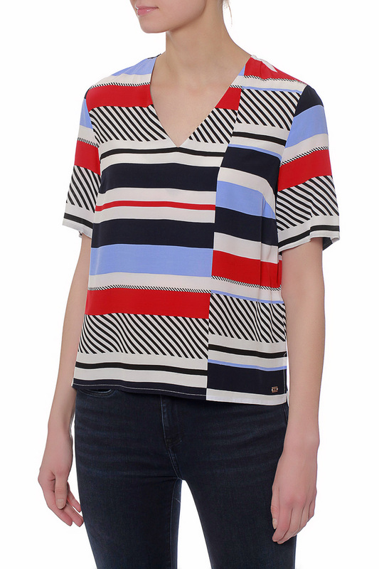 Купить Блуза Tommy Hilfiger, 111 SPEED PATCHWORK STP, BLACK