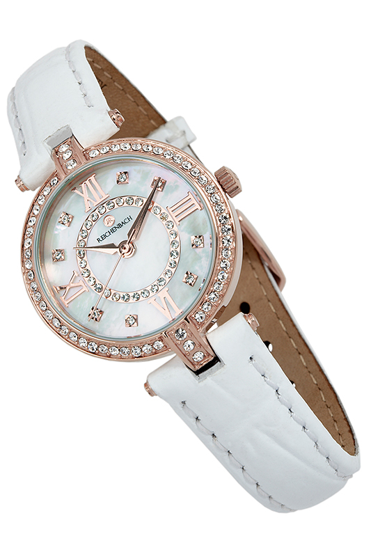 QUARTZ WATCH Reichenbach QUARTZ WATCH womage quartz watch diamond dots indicate leather watch band for women red