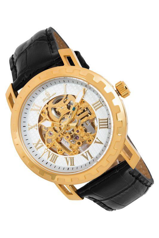 automatic watch Burgmeister Часы с большим циферблатом binger full steel watch mechanical hollow transparent skeleton automatic self wind man reloj relogio wristwatch with rose gold