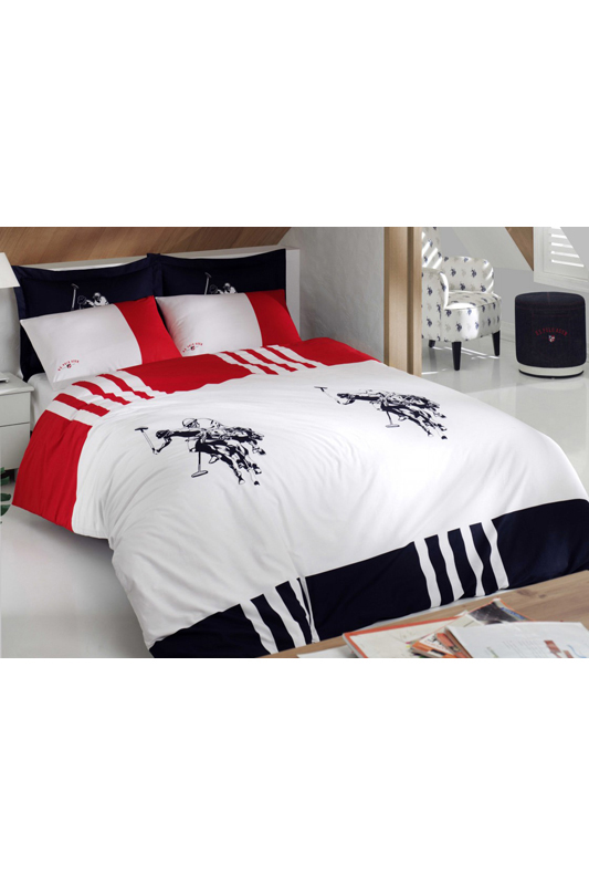 Percale SingleQuilt Cover Set U.S. Polo Assn.Percale SingleQuilt Cover Set<br><br>param_1: 1<br>Возраст: Взрослый<br>Пол: Унисекс<br>Цвет: Dark blue, white and red