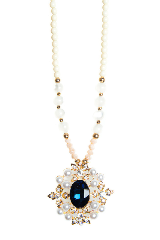 Купить Pendant with chain Luisa Vannini Jewelry, Goldm white and dark blue