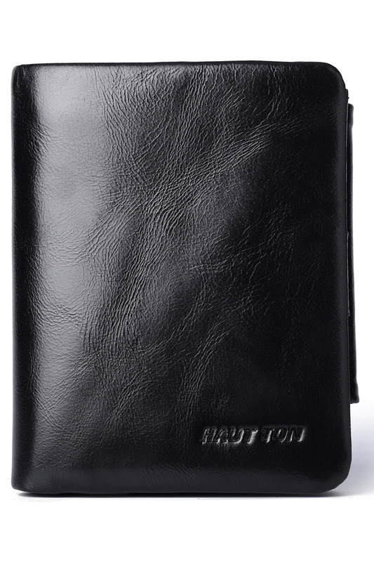 Wallet HAUTTON Wallet new real cowhide leather wallet men coin pocket purse carteira masculina brand wallet male bifold brown genuine wallet