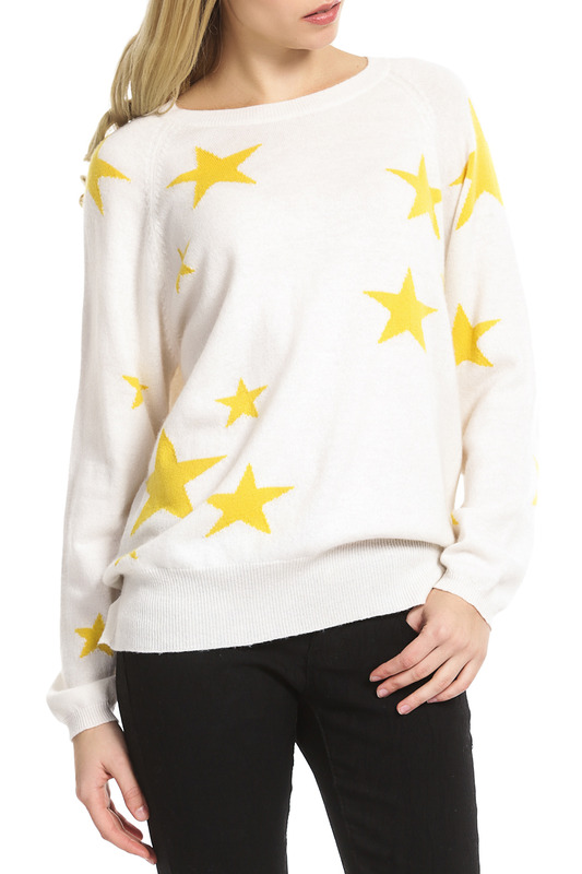 Пуловер Scott & Scott London Cashmere 1215_419_ORGANIC_WHITE_YELLOW_STARS