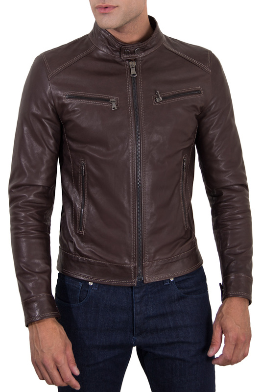 Leather jacket AD MILANO Leather jacket жилет emporio armani жилет