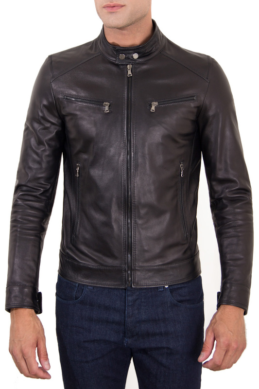 Leather jacket AD MILANO Leather jacket zippered spliced stand collar faux leather jacket
