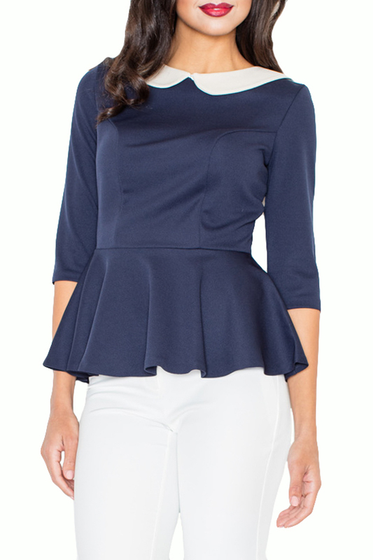 BLOUSE Figl BLOUSE pleated button collar blouse