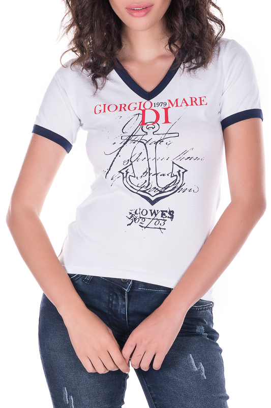 t-shirt GIORGIO DI MARE t-shirt low cut cold shoulder ruched t shirt