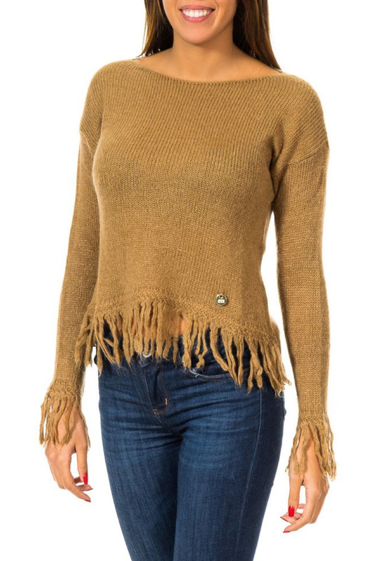 jumper Met jumper double v neck fluted sleeve jumper