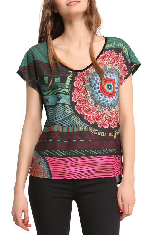 blouse Desigual blouse off the shoulder guipure frilled blouse