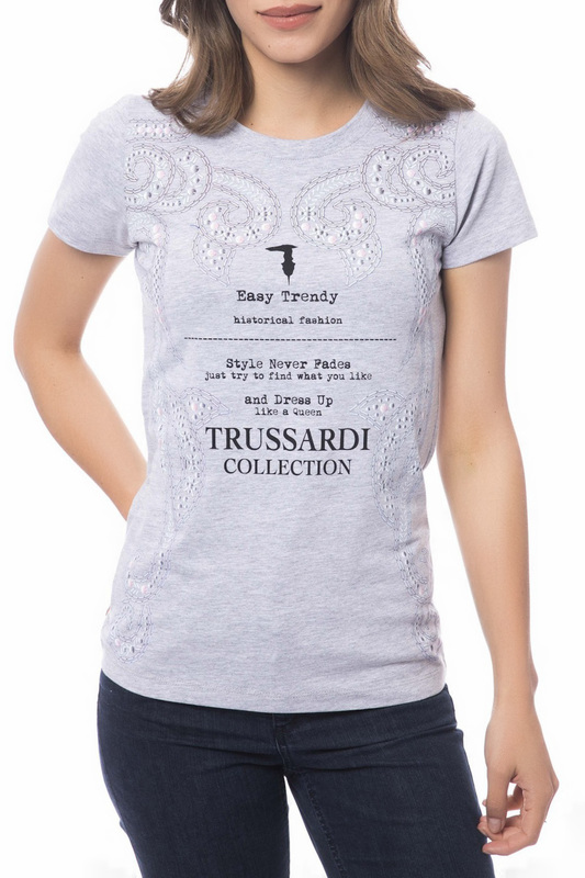 t-shirt Trussardi Collection t-shirt low cut cold shoulder ruched t shirt