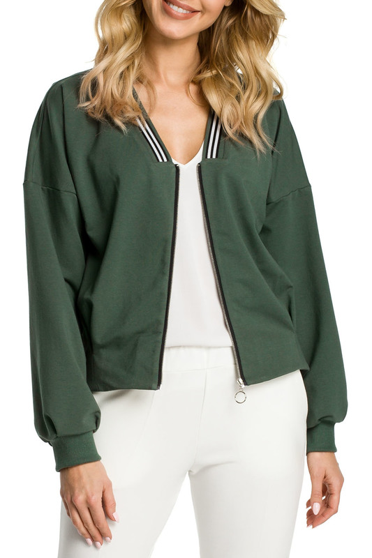 bomber Moe bomber zipper up patch bomber jacket