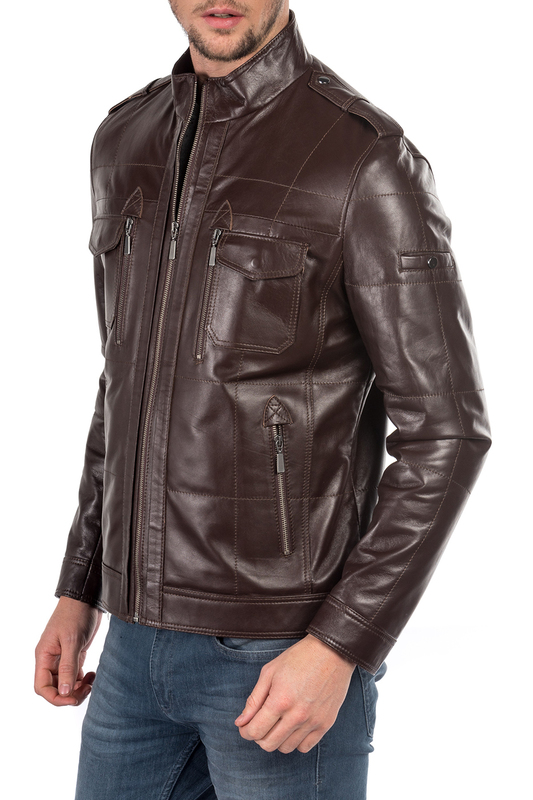 leather jacket MIO CALVINO Куртки косухи полуприлегающая куртка с застежкой на кнопки gaudi полуприлегающая куртка с застежкой на кнопки