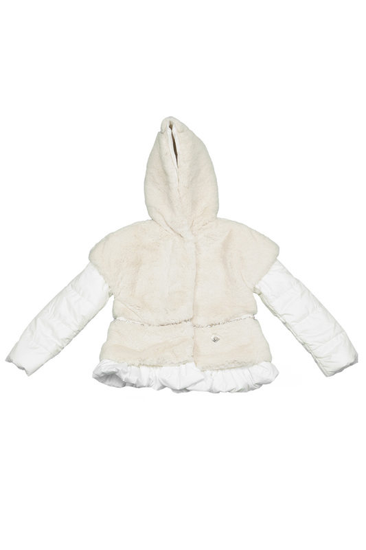 FAUX-FUR JACKET BABY BLUMARINE FAUX-FUR JACKET camo insert faux fur trim denim jacket