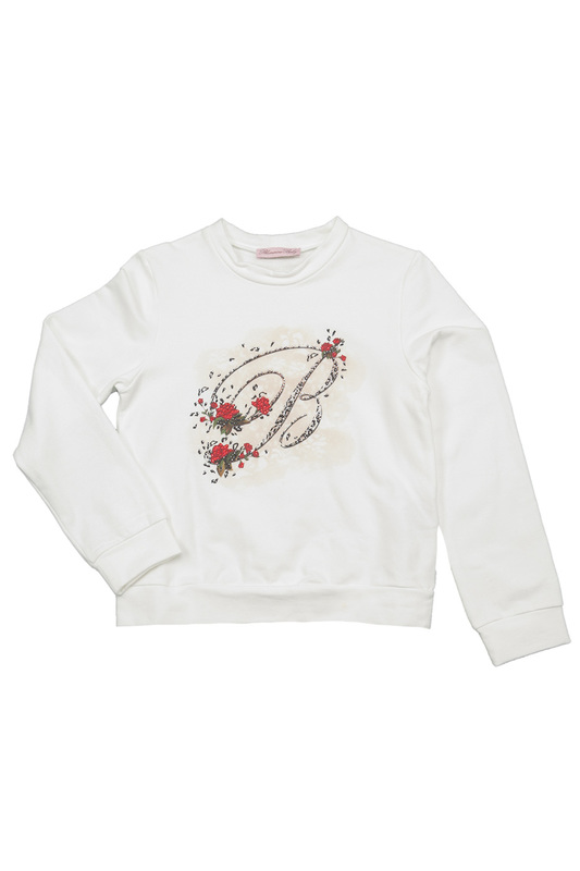 PRINTED SWEATSHIRT BABY BLUMARINE PRINTED SWEATSHIRT a suit of delicate rhinestone necklace bracelet earrings and ring for women