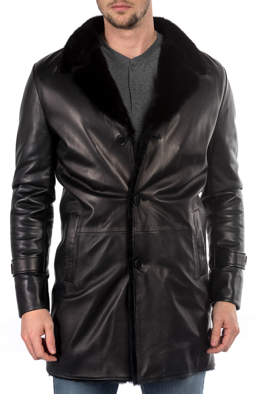leather jacket MIO CALVINO leather jacket zippered spliced stand collar faux leather jacket