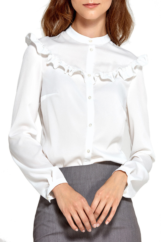 blouse Nife blouse pussy bow semi sheer blouse