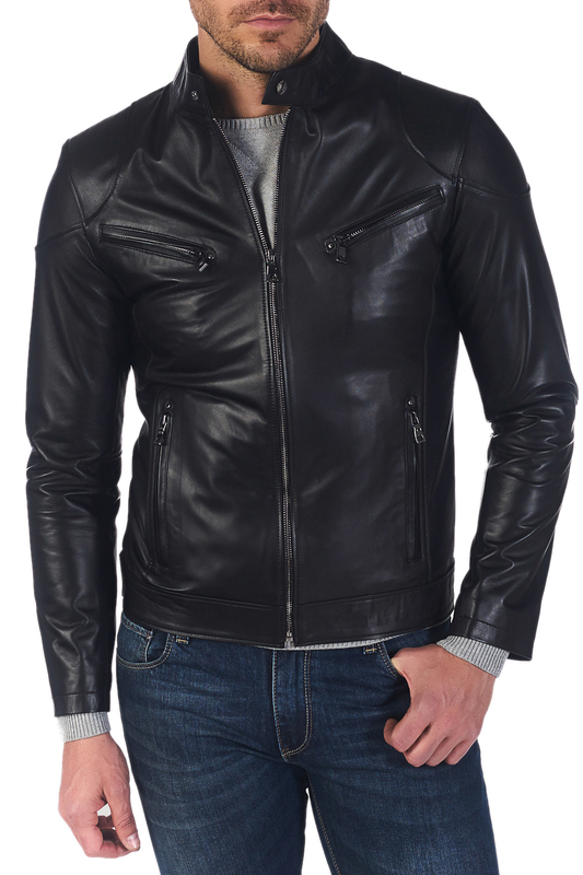 leather jacket GIORGIO DI MARE leather jacket zippered spliced stand collar faux leather jacket