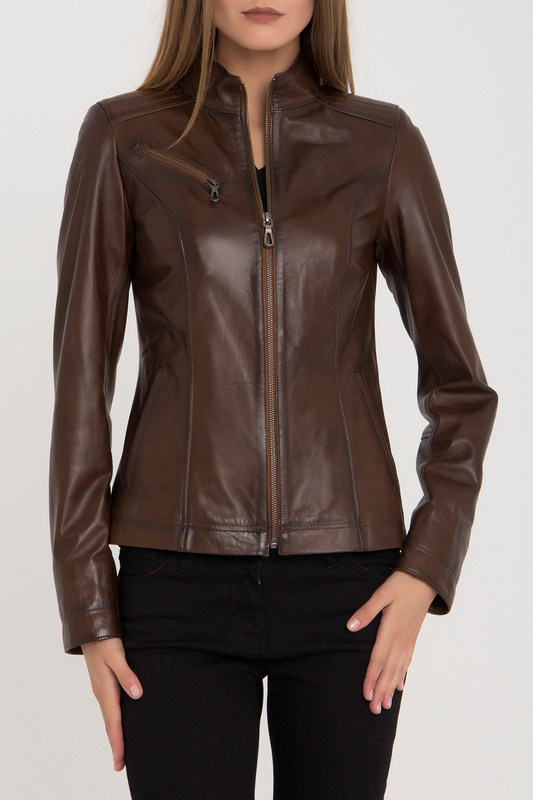 Leather Jacket IPARELDE Leather Jacket zippered spliced stand collar faux leather jacket