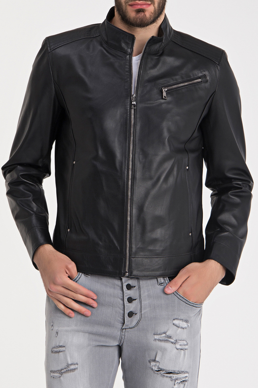 Leather Jacket IPARELDE Leather Jacket zip up patch faux leather flocking jacket