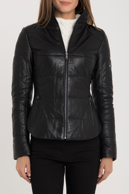 Leather Jacket IPARELDE Leather Jacket stylish lapel neck black faux leather jacket for women