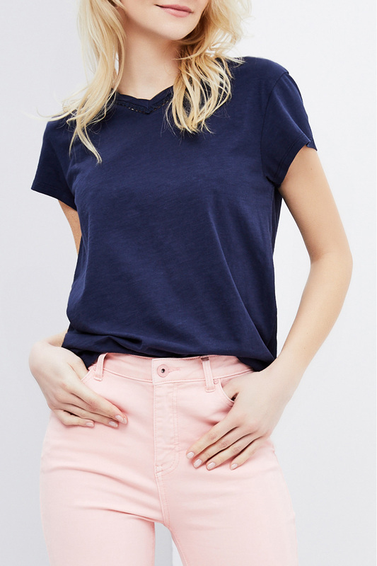 t-shirt MOODO t-shirt tiered flower embroidery t shirt