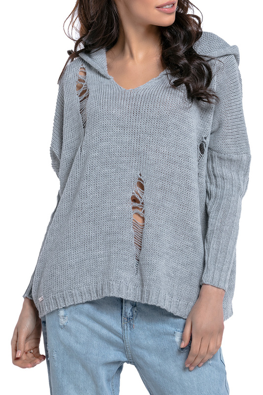 jumper FOBYA jumper plus grommet crisscross plunging neck jumper