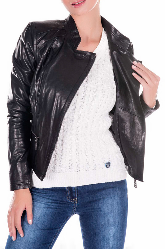 Leather Jacket GIORGIO DI MARE Leather Jacket stand collar pu leather applique graphic print zip up jacket