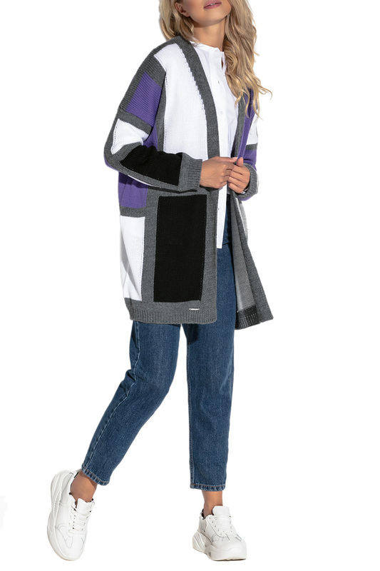 Купить Cardigan FOBYA, White, gray, purple