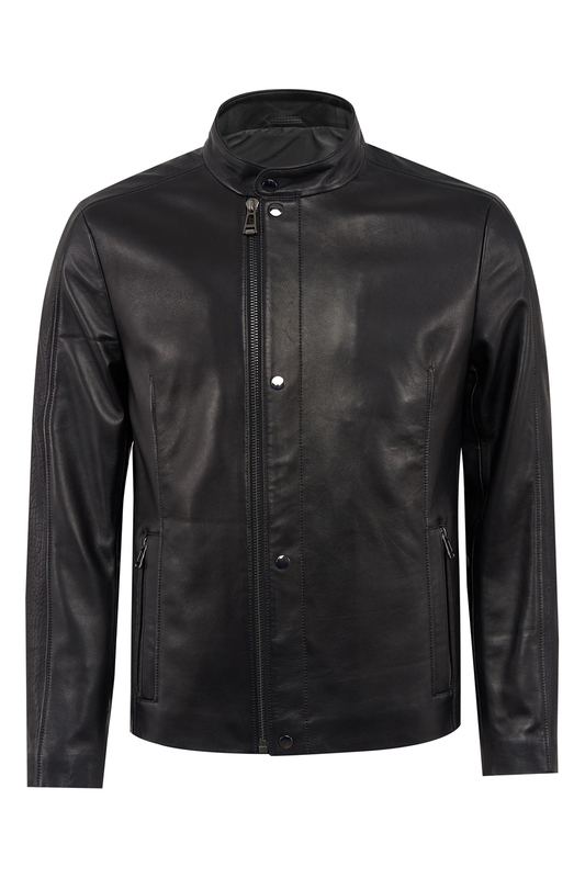 leather jacket Gilman One leather jacket stand collar pu leather applique graphic print zip up jacket