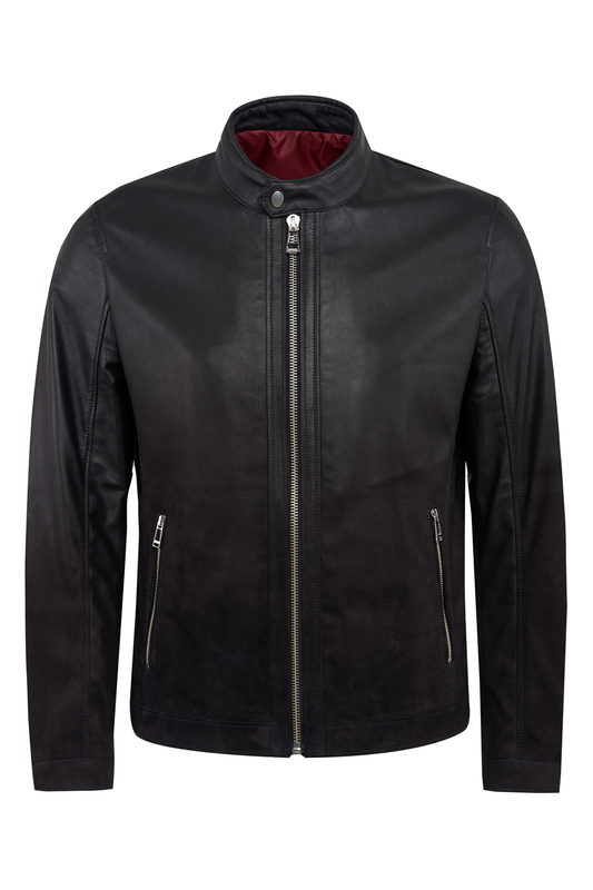 leather jacket Gilman One leather jacket stylish lapel neck black faux leather jacket for women