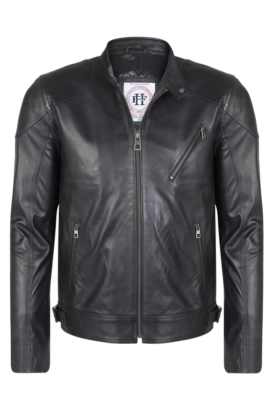 Leather Jacket FELIX HARDY Leather Jacket stylish lapel neck black faux leather jacket for women