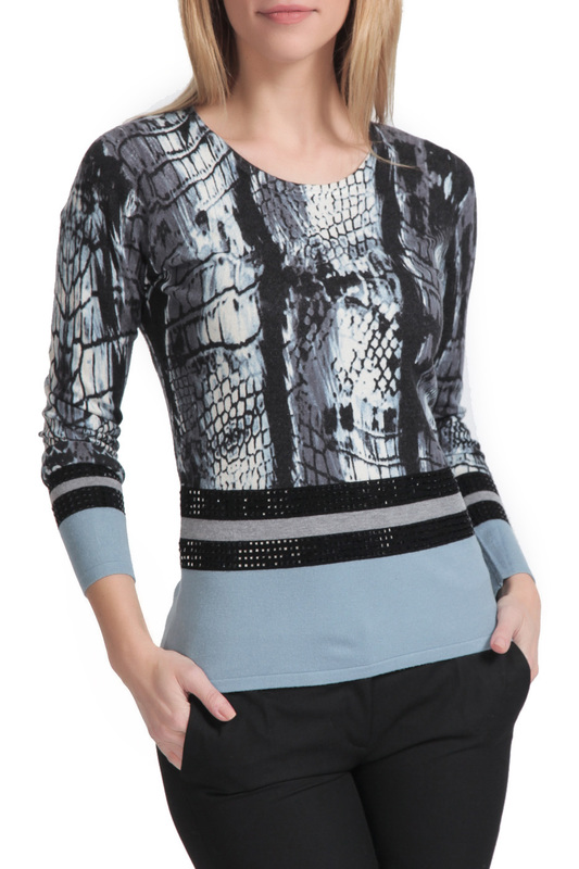 pullover Passioni pullover color block fuzzy sleeve pullover