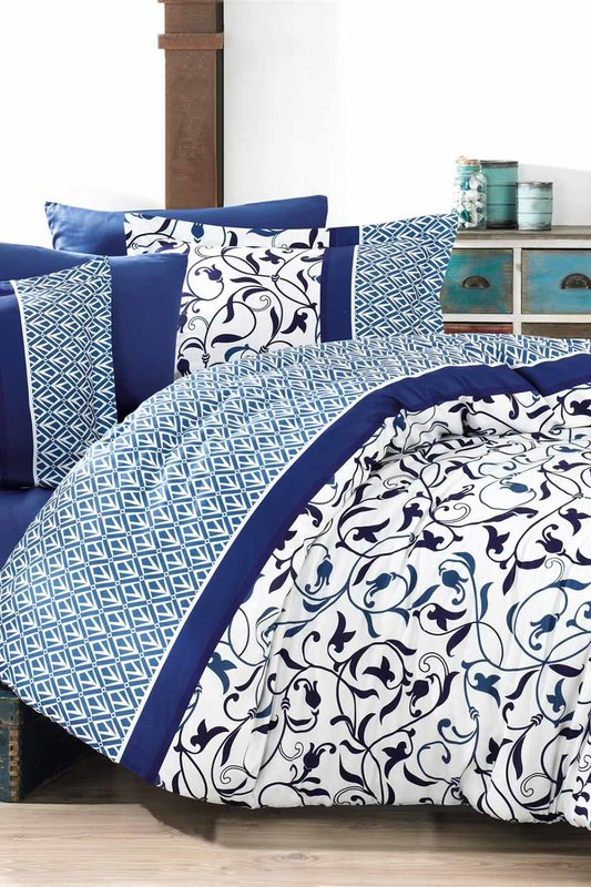 Купить Single Quilt Cover Set NAZENIN HOME, White, dark blue, blue