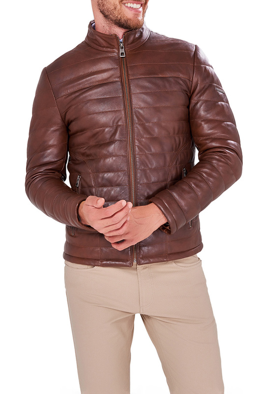 Leather Jacket JIMMY SANDERS Leather Jacket zip up patch faux leather flocking jacket