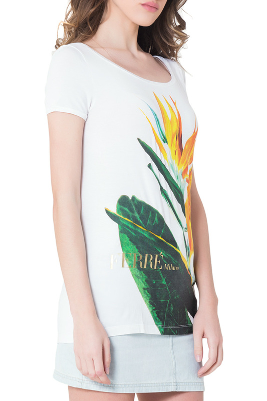 T-Shirt Gianfranco Ferre T-Shirt tiered flower embroidery t shirt
