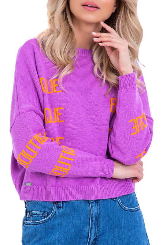 Sweater FOBYA, Light purple, orange  - купить со скидкой