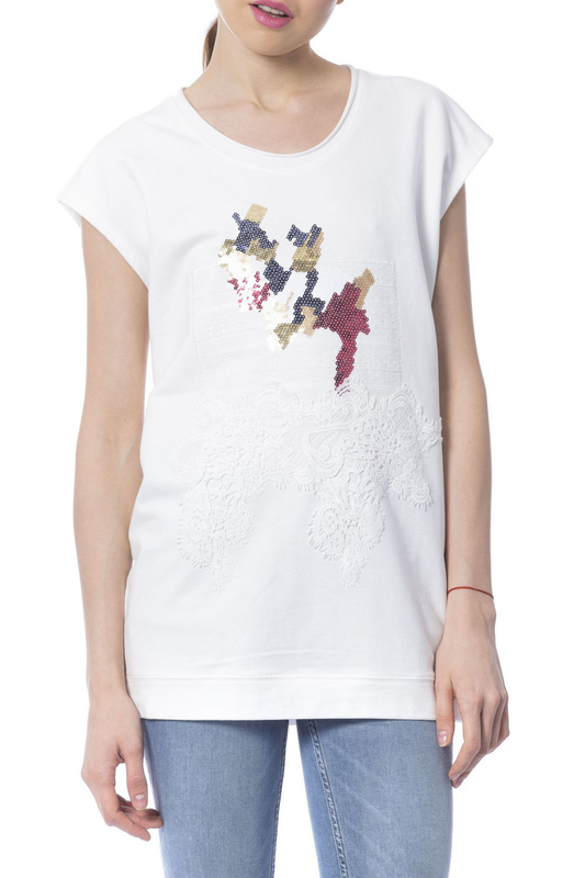 t-shirt Silvian Heach t-shirt tiered flower embroidery t shirt