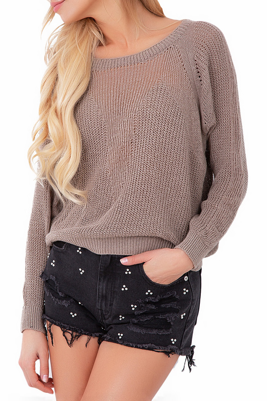 jumper FOBYA jumper cold shoulder basket weave jumper