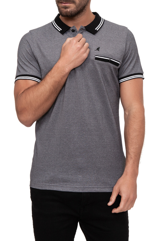 polo t-shirt KANGOL polo t-shirt casual color block half button polo t shirt