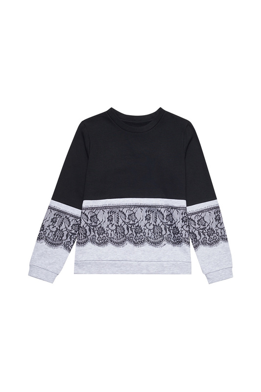 sweatshirt MOODO sweatshirt black gesture print drop shoulder sweatshirt