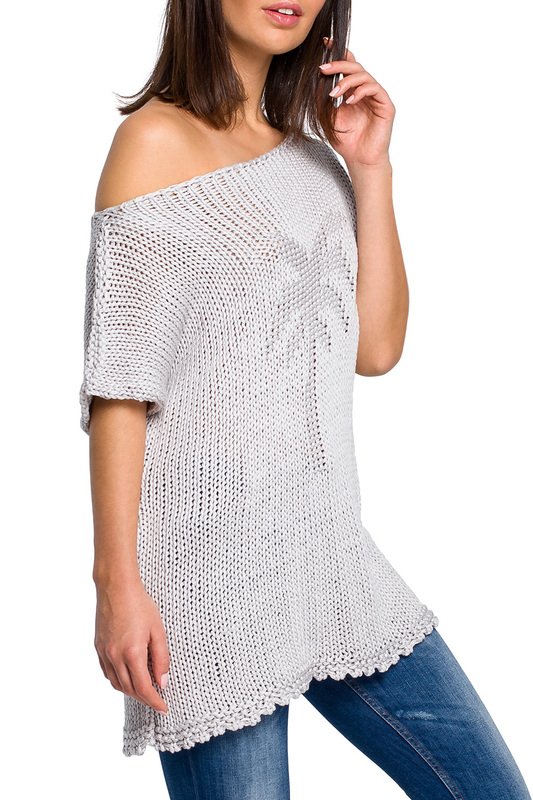 short sleeve sweater BeWear short sleeve sweater long sleeve ribbed striped crew neck sweater