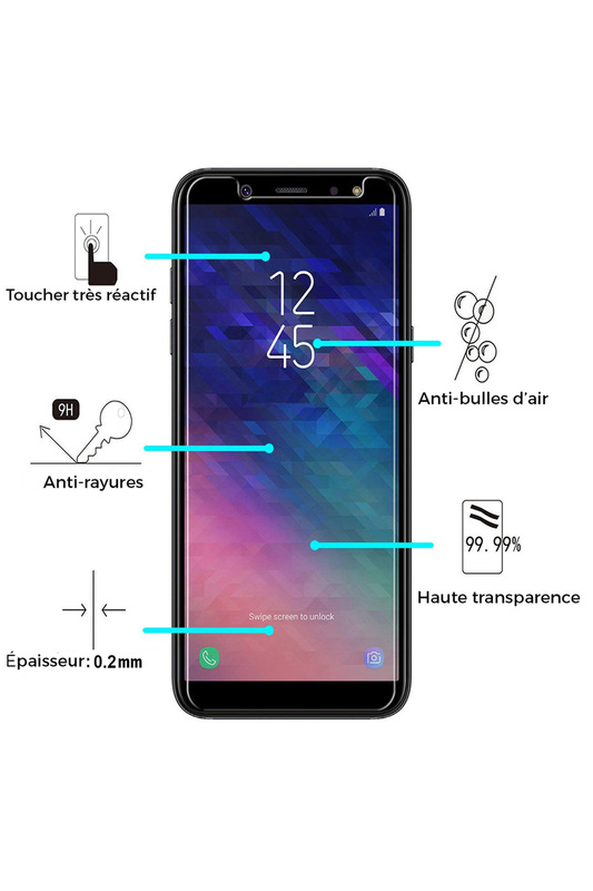 Tempered glass for Galaxy A6 1 EVETANE Tempered glass for Galaxy A6 1